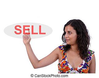 schöne , verkaufen, frau, junger, drücken, schlüssel
