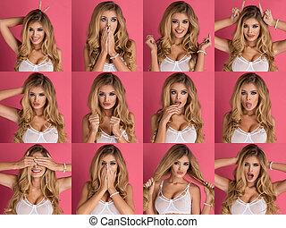 schöne , verschieden, frau, expression., collage, auf, traurige , schließen, porträt, blond, glücklich