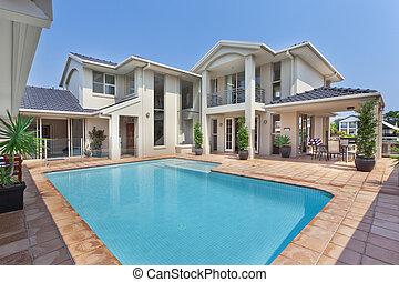 schöne , villa, australische, teich, hinterhof