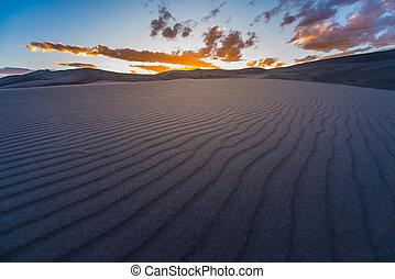 schöne , wüste, sonnenuntergang