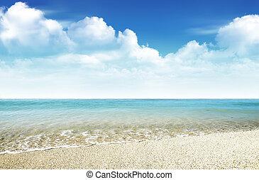 schöne , wasserlandschaft, mit, blauer himmel, und, wolke, hintergrund