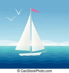 schöne , wasserlandschaft, segelboot