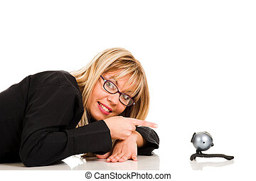 schöne , webcam, frau, junger
