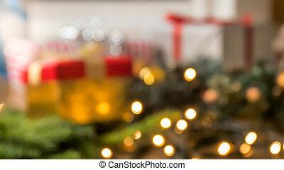 schöne , weihnachten, fokus, hintergrund, mit, glühen, lichter, girlanden, und, geschenke
