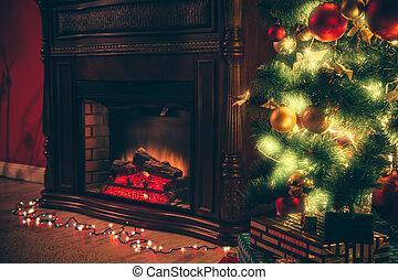 Schone Weihnachten Wohnzimmer Mit Dekoriert Weihnachtsbaum Geschenke Und