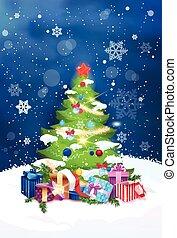 schöne , weihnachtsbaum, nacht, ansicht, aus, blauer himmel, mit, schneeflocken