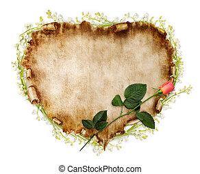 schöne , weinlese, stilisiert, valentine karte