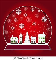 schöne , wenig, schneebedeckt, winter, erdball, schnee, abbildung, weihnachten, stadt