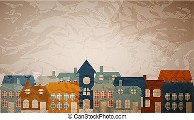 schöne , wenig, town., abbildung, vektor, karte