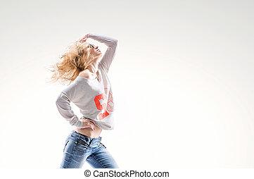 schöne , weste, frau, energisch, tanz, jeans, junger, hintergrund, blond, bewegt, weißes