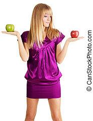 schöne, Wiegen, junger, zwei, Äpfel, Dame