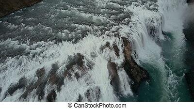 schöne , wild, wasserfall, gullfoss, von, der, copter., luftblick, von, der, turbulent, fließen, in, island, nature.