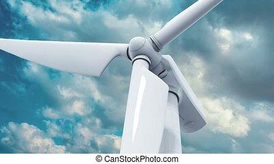 schöne , windmühle, blauer himmel, hintergrund, weißes