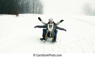 schöne , winter, schlitten, paar, day., spaß, älter, haben