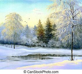 schöne , winterlandschaft, segeltuch, oel