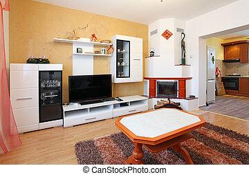 Schöne , Wohnzimmer, Mit, Kaminofen