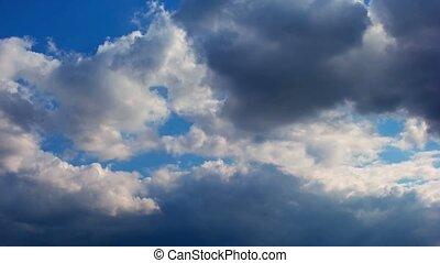 schöne, wolkengebilde,  Timelapse, wolkenhimmel,  eventually, sonne, druchbrechen, wolkenhimmel, Regen, groß, durch, hinten, Masse, Wolke, blank