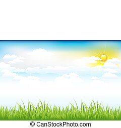 schöne , wolkenhimmel, grüne landschaft