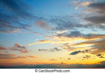 schöne , wolkenhimmel, himmelsgewölbe, sonnenuntergang