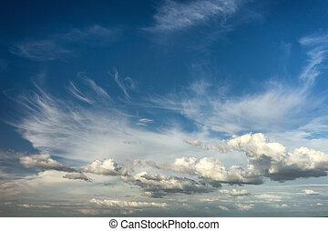 schöne , wolkenhimmel, in, der, blauer himmel, aus, der, meer