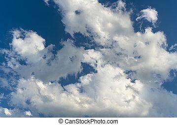 schöne , wolkenhimmel, in, der, sonnenuntergang, licht