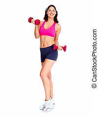 schöne , woman., junger, fitness
