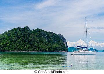 schöne , yacht, andaman, ort, meer, thailand, weißes