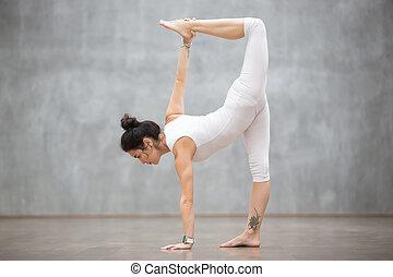 schöne , yoga:, halber mond, haltung
