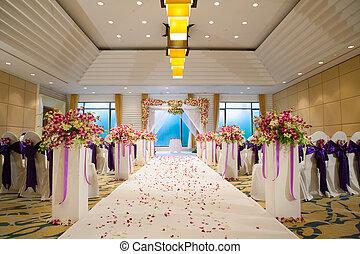 schöne , zeremonie, elemente, bogen, stühle, blumen, dekoration, design, wedding, blumen-, luftballone, design