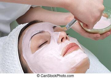 schönheit salon, maske, reihe, gesichtsbehandlung