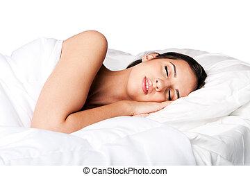 schönheit schlaf, und, träumende, frau