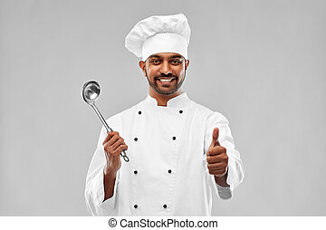 schöpflöffel, ausstellung, auf, küchenchef, indische , daumen, glücklich