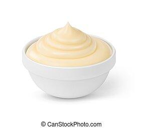 schüssel, freigestellt, hintergrund, mayonnaise, soße, weißes