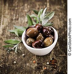 schüssel, gefüllt, mit, schwarze oliven