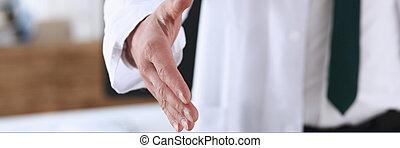schütteln, mann, hand, medizinprodukt, buero, angebot, doktor