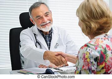 schüttelnd, doktor, patient, hände