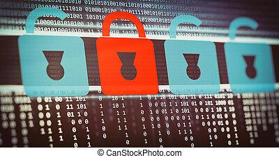 schützen, hacker, angriffe