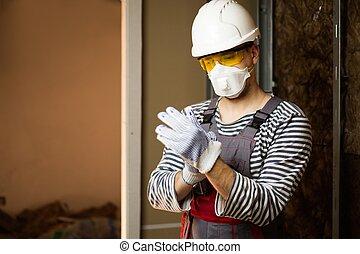 schützend, gebäude, tragen, baugewerbe, während, ...
