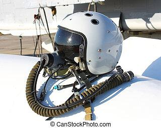 schützend, helm, von, der, pilot