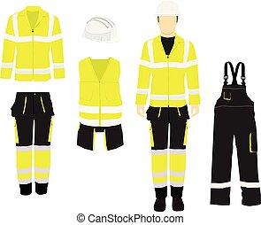 schützend, kleidung, figure., arbeiter, zurück, stiefeln, mannes, front, professionell, verschieden, gelber , drehungen, ansicht, sicherheit, ansicht., helmet., seite, uniform., mann