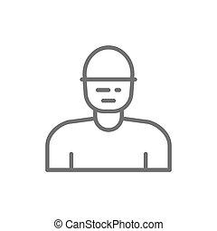 schützend, linie, icon., mann, maske, arbeiter