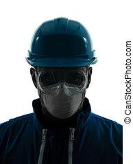 schützend, silhouette, baugewerbe, porträt, workwear, mann