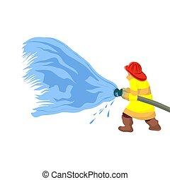 schützend, sprühen, feuer, er, water., gekleidet, ...