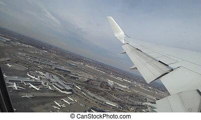 schaaf, het opstijgen, van, luchthaven, aanzicht, door, een, vliegtuig venster