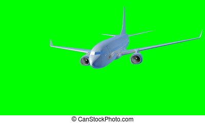 schaaf, vliegen, op, een, groene, achtergrond., 3d, render