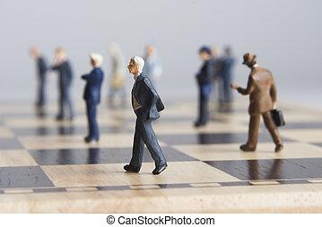 schaakbord, figurines, zakelijk
