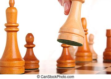 schaakspel, agressie, hand, menselijk, witte