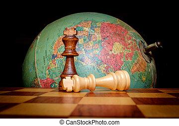 schaakspel, koningen, globe