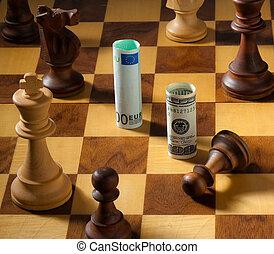 schaakspel, met, de, dollar, en, eurobiljet, bank, note., dollar, depreciation.