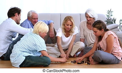 schaakspel, spelend, familie huis